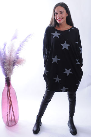 The All Star Longline Pocketed Cocoon Top Black