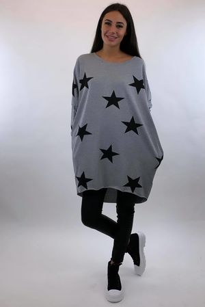 The All Star Longline Pocketed Cocoon Top Grey Marl