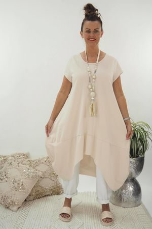 The Archie Cap Sleeve Cocoon Dress Stone