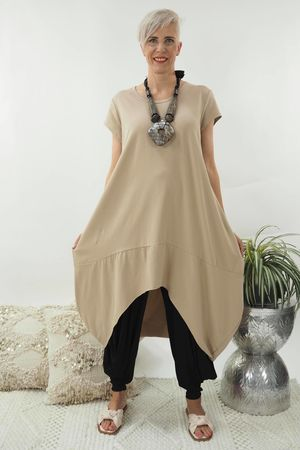 The Archie Cap Sleeve Cocoon Dress Soft Tan