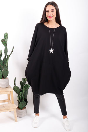The Basic Cocoon Tunic Black
