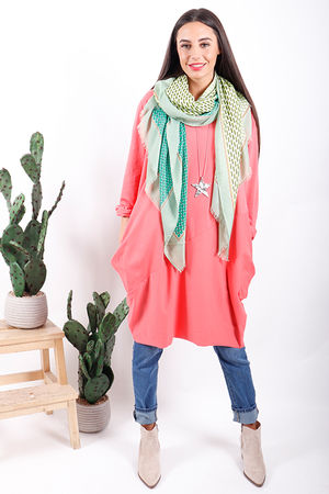 The Basic Cocoon Tunic Living Coral