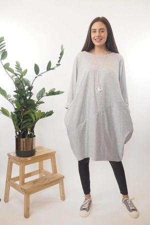 The Basic Cocoon Tunic Mid Grey Marl