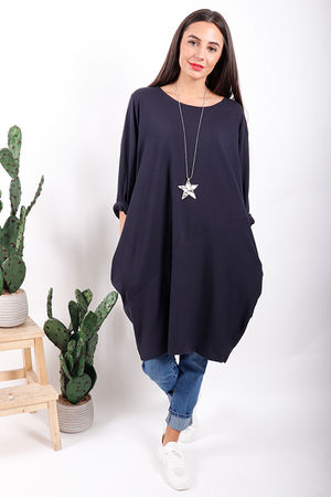 The Basic Cocoon Tunic Navy
