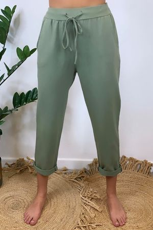 The Basic Crop Jogger Khaki