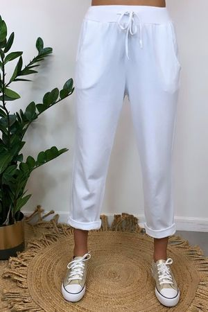 The Basic Crop Jogger White