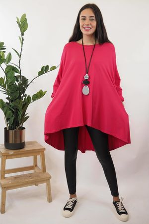The Basic Pocket Trapeze Top Hot Pink
