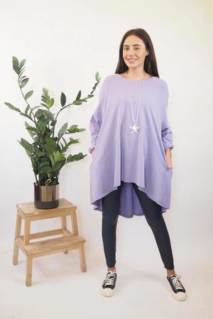 The Basic Pocket Trapeze Top Lilac