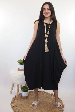 The Basic Sleeveless Parachute Dress Black