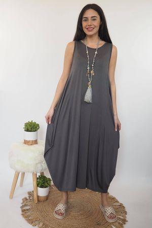 The Basic Sleeveless Parachute Dress Graphite