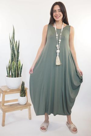 The Basic Sleeveless Parachute Dress Khaki