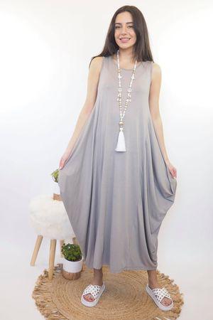 The Basic Sleeveless Parachute Dress Mocha
