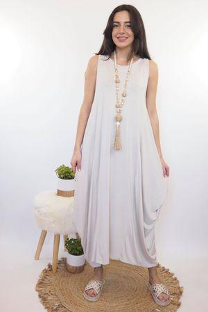 The Basic Sleeveless Parachute Dress Stone