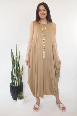 The Basic Sleeveless Parachute Dress Tan