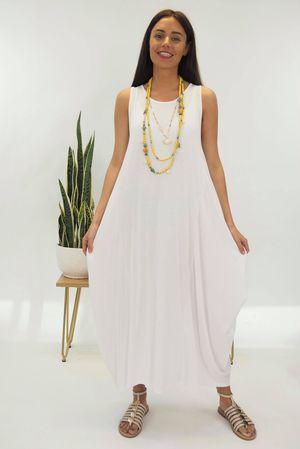 The Basic Sleeveless Parachute Dress White