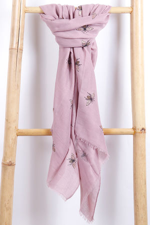 The Bee Scarf Dusky Pink