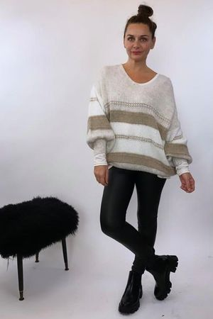 The Big Softie Linear Blousy Knit Ecru & Taupes