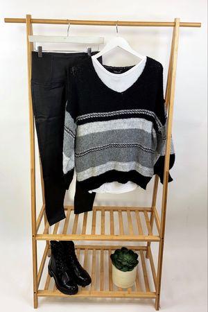 The Big Softie Linear Blousy Knit Black & Greys