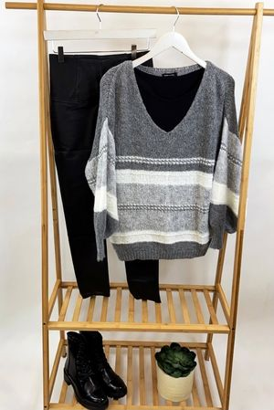 The Big Softie Linear Blousy Knit Greys & Greys
