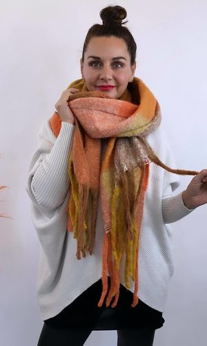 The Big Softie Scarf Orange & Tan