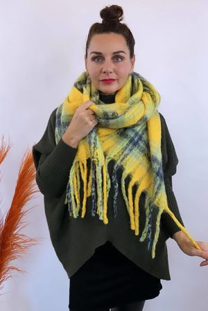 The Big Softie Scarf Yellow & Greys