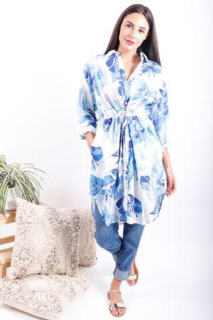 The Botanist Longline Pull Tie Shirt China Blue