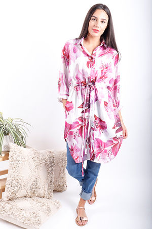 The Botanist Longline Pull Tie Shirt Radiant Orchid