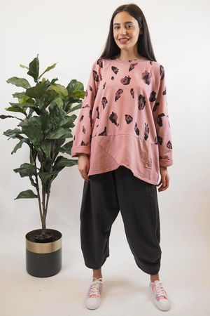 The Boulle Macro Leopard Sweat Indian Rose