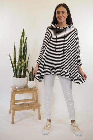The Breton Frill Hoody Black