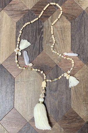 The Buddha Tassel Necklace Ecru