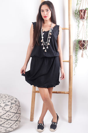 The Calabasis Frill Sun Dress Black