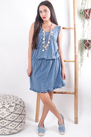 The Calabasis Frill Sun Dress Denim