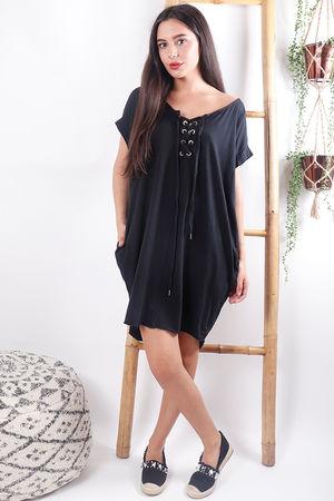 The Calabasis Lace Up T Shirt Dress Black