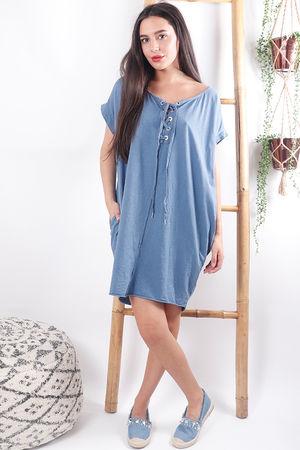 The Calabasis Lace Up T Shirt Dress Denim