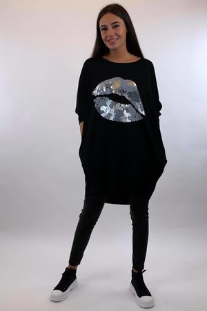 The Camo Lip Popoon Tunic Black