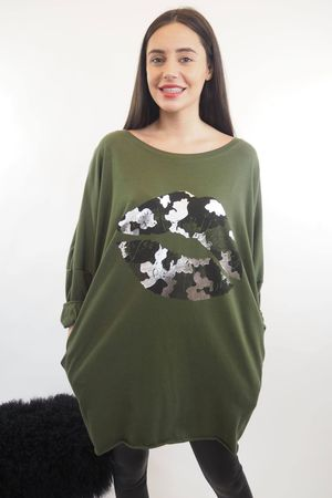 The Camo Lip Popoon Tunic Khaki