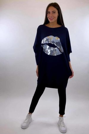 The Camo Lip Popoon Tunic Navy