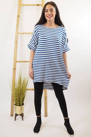 The Cap Sleeve Breton Pocket Long Tee Cobalt
