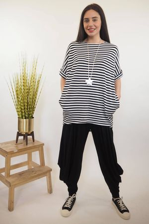 The Cap Sleeve Breton Pocket Long Tee Black