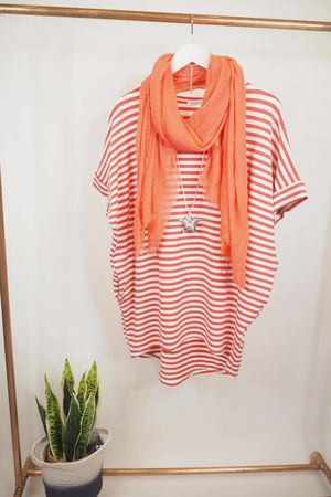 The Cap Sleeve Breton Pocket Long Tee Coral