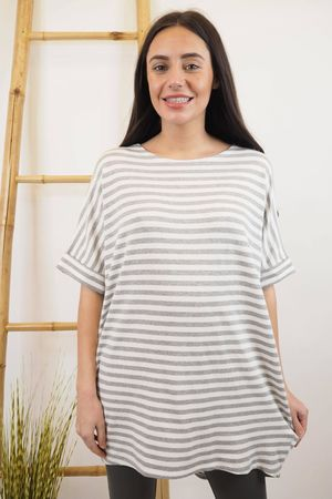 The Cap Sleeve Breton Pocket Long Tee Grey
