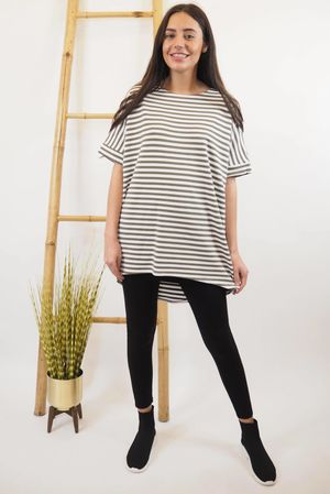 The Cap Sleeve Breton Pocket Long Tee Khaki