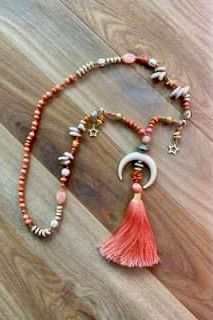 The Chania Tassel Necklace Coral