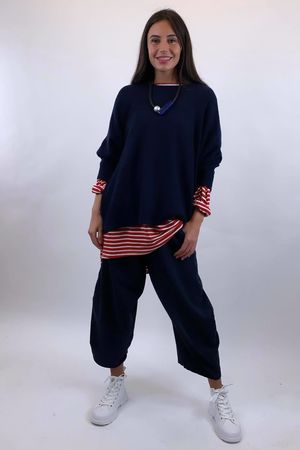 The Charli Classic Box Knit Navy