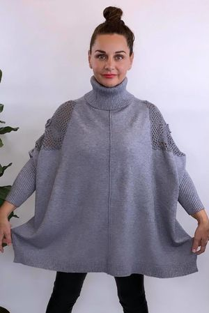 The Charli Crochet Cowl Knit Grey Marl