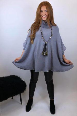 The Charli Frayed Slouchy Knit Marl Grey