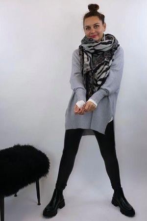 The Charli Hi Lo Knit Grey Marl