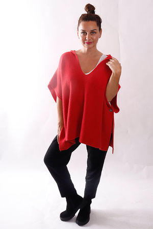 The Charli Oversized Ribby Sleeveless Hoody - Soft Red