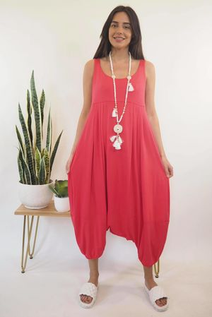 The Classic Harem Jumpsuit Hot Pink