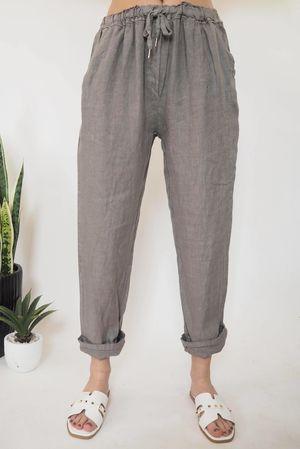 The Classic Linen 7/8 Pant Mocha **b